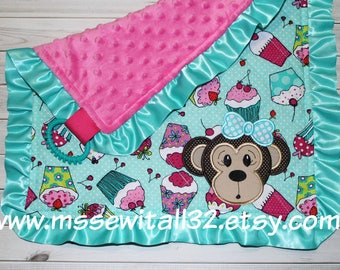 Personalized Baby Security Blanket - Baby Sensory Blanket - Baby Lovey Blanket - Satin Trim - Cupcakes - Monkey