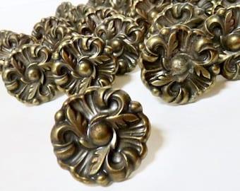 French Chic 1960s RDCA Hardware Knobs Pulls Set of 25, Vintage Antique Bronze Flower Rosette
