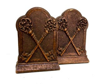 Antique Wood Bookends Raised Relief Crossed Skeleton Keys, Vintage Library/Office