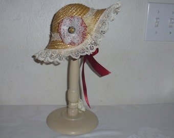 """18"""" Doll Straw Hat with Burgandy Flower and Lace for Pretend Play"""