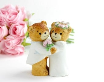 Vintage Enesco Lucy and Me Wedding Bears Couple, Wedding Cake Topper, Teddy Bear Wedding, Signed Lucy and Me Figurine, Wedding Keepsake