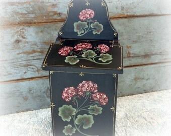 vintage mailbox hand painted / vintage wooden storage box / hand painted flowers / heliotrope / primrose