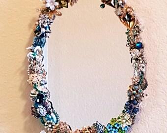 Luxe Boudoir Encrusted Vintage Jewel Vanity Mirror