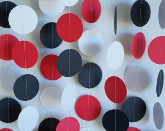 Paper Garland, Red, White, Black Birthday Decoration, Graduation Party Decor, Poker Party Decorations, 10 ft. long