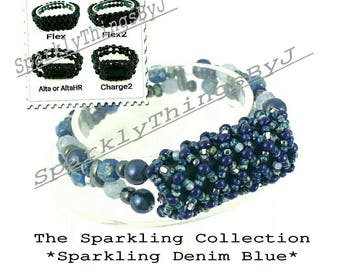 Bracelet for FitBit FLEX, FLEX2, ALTA, AltaHr or Charge2! *Sparkling Denim Blue*, Glass, Swarovski Glass Pearls,Stretch,Tech,Free Resizing!*