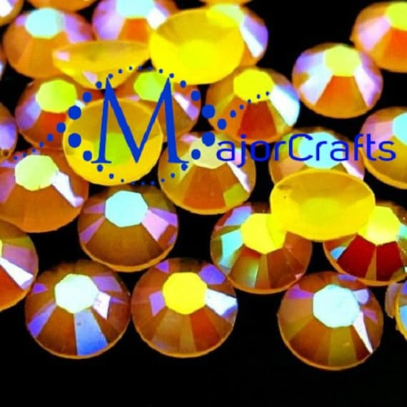 Dark Yellow AB Flat Back Round Resin Rhinestones Embellishment Gems C47