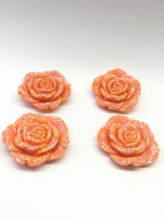 2pcs Orange AB 42mm Large Flat Back Chunky Resin Rhinestone Rose Flower Embellishments C5