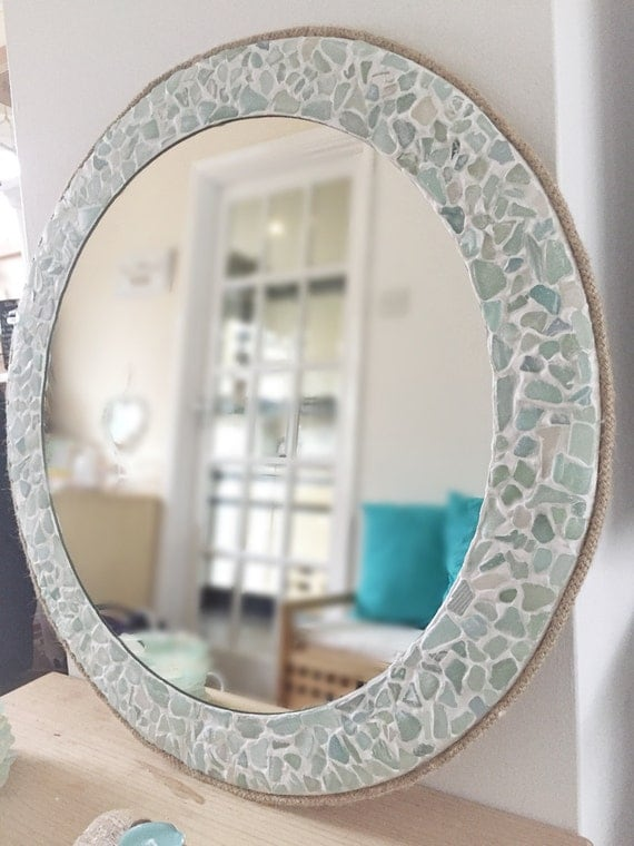 Large Round Sea Glass Mirror Isle Of Wight Beach Home Decor