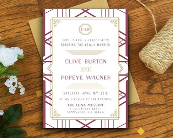 Art Deco Wedding Reception Invitation Card - 1920s Gatsby Wedding Old Fashioned Style - Invitation Printable DIY