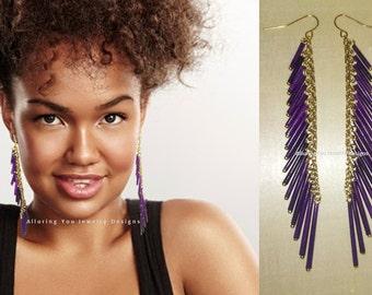 Purple Rain - Porcupine Quill Tassel Earrings , Shoulder Duster Earrings, Purple Earrings