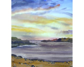 Purple Sunset, Original watercolour painting