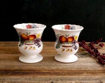 Vintage Ceramic Egg Cups, Copeland Spode Fruit & Flowers, Old Pattern Spode, Rare Copeland Spode, Reynolds Fruit Flowers, Made in England