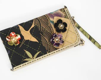 "7"" kiss lock – Glasses Case or Cell Phone Case, Dreamscape of Cranes & Irises"