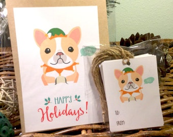 Meme Holiday Cards & Tags Set, French Bulldog Yass, Christmas Cards, greeting cards, funny cards, hipster xmas, christmas gift, holidays