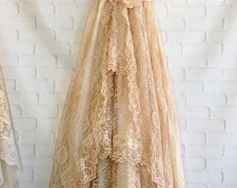 tan & cream ruffled lace boho wedding dress by mermaid miss Kristin