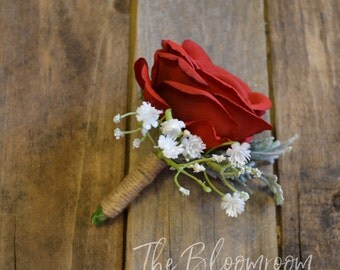 Silk boutonniere / Wedding buttonhole / Grooms flowers / Rustic boutonniere / Men's buttonhole / Groom boutonniere / Flower buttonhole
