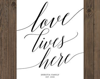 Love Lives Here Printable - Established Sign