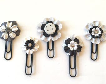 Planner Clips Black and White Flowers journal accessories planner accessories bookmark