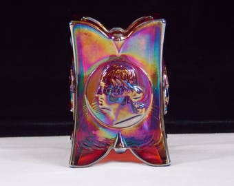 1976 Joe St Clair 1776-1976 Bicentennial Square Toothpick Holder in Iridescent Ruby Red Carnival Glass, Signed Makers Trademark, HTF - BB