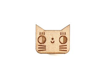Cat pin - kitten brooch - cute animal badge - not another enamel pin - kawaii kitty - graphic accessory - lasercut maple wood - steel