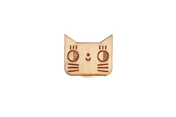 Cat pin - kitten brooch - cute animal badge - not another enamel pin - kawaii kitty - graphic accessory - lasercut maple wood - steel