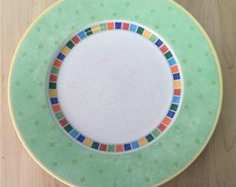 """Villeroy & Boch Twist Alea Verde Green Rim Multi Block 1 Dinner Plate 10.75"""" in"""