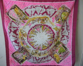 vintage 1960s scarf day glo pink colonial scenes  30 x 30 inches