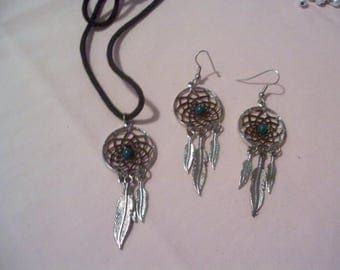 Dreamcatcher pendant necklace and earrings