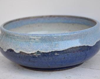 Blue pottery bowl, blue ceramic bowl, handmade pottery bowl