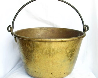 Vintage brass cauldron...large brass planter...large brass pot...rustic...primitive.