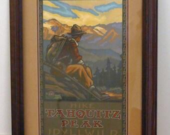 "PRICE REDUCED! Vintage ""Hike Taquitz Peak Idylllwild"" Poster"
