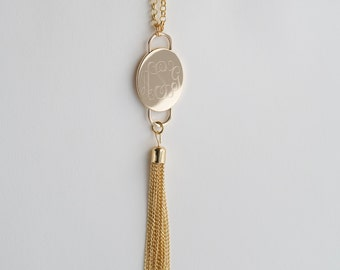 Statement Large Monogram Tassel Necklace in Silver or Gold, Long Personalized Necklace, Personalized Layering Necklace