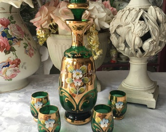 Stunning Bohemian Glass Cordial Set Decanter with 4 Footed Cups Hand Blown with Enameled Flowers and Gold Details and Trim