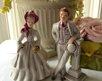 Florence Ceramics Pasadena  California Figurine Pair Sue and Jim Anniversary Gift
