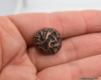 Small Textured Antiqued Copper Button, Round Copper Button, Decorative Button, Round Button, 17 mm