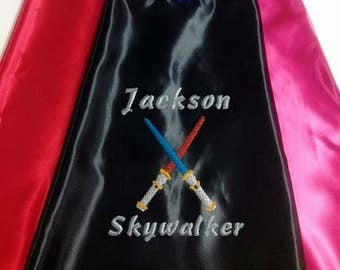 Kid's Cape,  Light Saber Cape with your child's Name  Embroidered Personalized Superhero cape