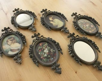 Vintage Ornate Metal Picture Frames Set of 6 - Vintage Italian Metal Frames Set, Miniature Florals,Portraits and Mirrors, Gorgeous detail