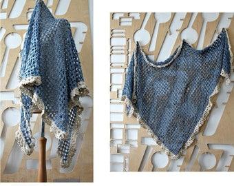 Handmade shawl Merino Cashmere Bridal Lace Crochet Shawl Bridesmaid gift Boho Eco friendly Shrug Wrap Bridal Cover Organic Linen Unbleached