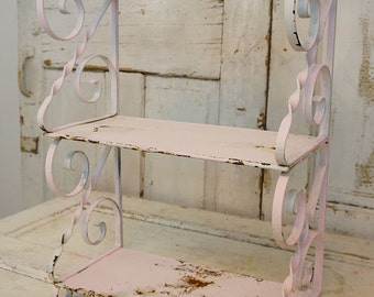 Large rusty wrought iron shelf 3 tiered shabby cottage chic painted ornate scroll metal wall hanging table display decor anita spero design