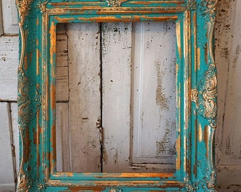 Distressed picture frame turquoise gold wall hanging ornate wooden shabby cottage chic vintage aqua frame display decor anita spero design