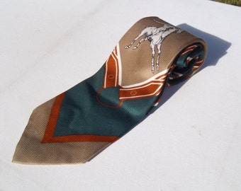 Vintage 1970s Wide Green Silk Tie with Brown and Orange Equestrian Pattern by Polo Ralph Lauren