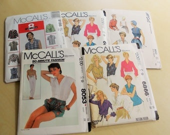 Lot of 5 McCall's Patterns Summer Style,  Sewing Patterns, Vintage.