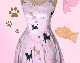 Kawaii Cat Dress Pastel Cat Dress Fairy Kei Dress Kitten Cat Skater Dress Cat Pattern Size XS Through 3XL *Made 2 Order*