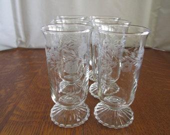 Vintage Set of Etched Wine Glasses
