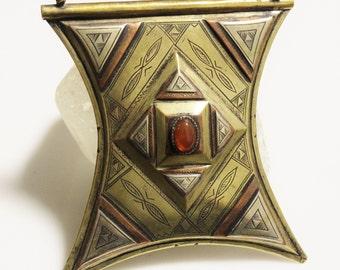 Gris Gris Tuareg Talisman Amulet Pendant, Extra Large African Pendant (AE48)