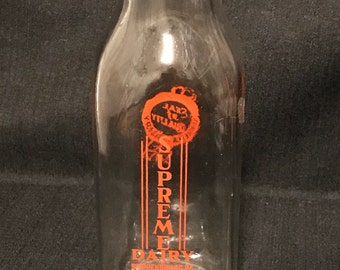 "Vintage Glass Milk Bottle ""Supreme Dairy"" SALE"