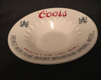 Vintage Ashtray Coors Beer Advertising Ashtray Man Cave