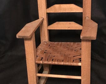 Doll  Chair Wooden Rocker with Cane Seat