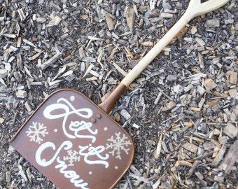 Rustic Wood Let it Snow Shovel