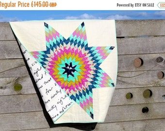 Spring Quilt Sale Modern Lap Quilt Wall hanging Lonestar or Star of Bethlehem Pattern Pink Blue and Cream